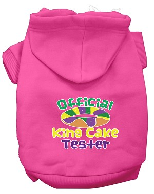 King Cake Taster Screen Print Mardi Gras Dog Hoodie Bright Pink XL