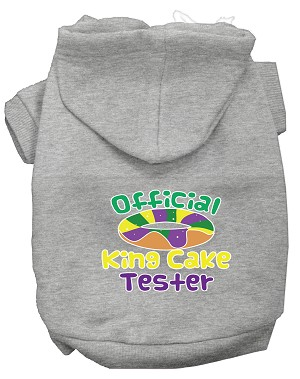 King Cake Taster Screen Print Mardi Gras Dog Hoodie Grey L