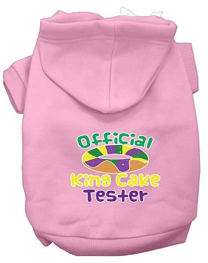 King Cake Taster Screen Print Mardi Gras Dog Hoodie Light Pink XL