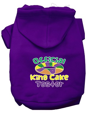 King Cake Taster Screen Print Mardi Gras Dog Hoodie Purple L