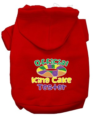 King Cake Taster Screen Print Mardi Gras Dog Hoodie Red XS