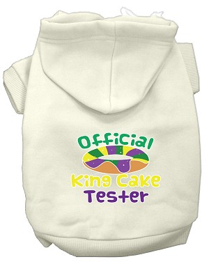 King Cake Taster Screen Print Mardi Gras Dog Hoodie Cream XXL