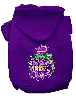 Laissez Les Bons Temps Rouler Screen Print Mardi Gras Dog Hoodie Purple XS