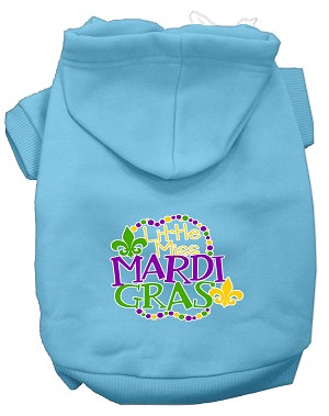 Miss Mardi Gras Screen Print Mardi Gras Dog Hoodie Baby Blue XXL