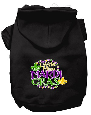 Miss Mardi Gras Screen Print Mardi Gras Dog Hoodie Black XL