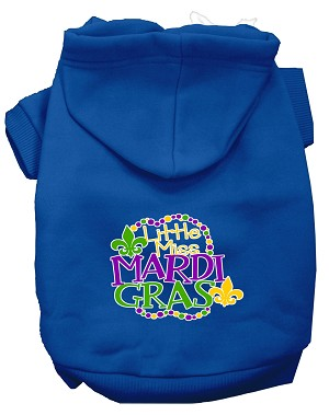 Miss Mardi Gras Screen Print Mardi Gras Dog Hoodie Blue L