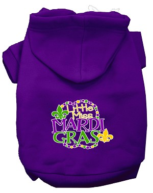 Miss Mardi Gras Screen Print Mardi Gras Dog Hoodie Purple L