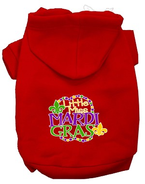 Miss Mardi Gras Screen Print Mardi Gras Dog Hoodie Red L