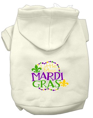 Miss Mardi Gras Screen Print Mardi Gras Dog Hoodie Cream M