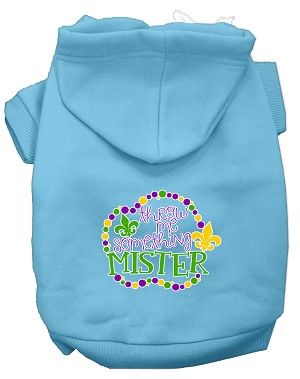 Throw me Something Screen Print Mardi Gras Dog Hoodie Baby Blue XXXL