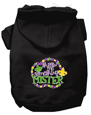 Throw me Something Screen Print Mardi Gras Dog Hoodie Black L