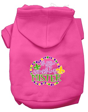 Throw me Something Screen Print Mardi Gras Dog Hoodie Bright Pink L
