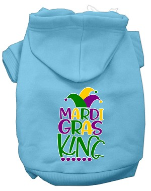 Mardi Gras King Screen Print Mardi Gras Dog Hoodie Baby Blue XXXL