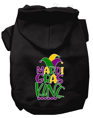 Mardi Gras King Screen Print Mardi Gras Dog Hoodie Black S