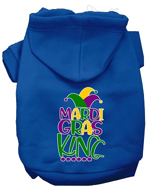 Mardi Gras King Screen Print Mardi Gras Dog Hoodie Blue XXL