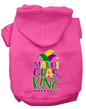 Mardi Gras King Screen Print Mardi Gras Dog Hoodie Bright Pink XL
