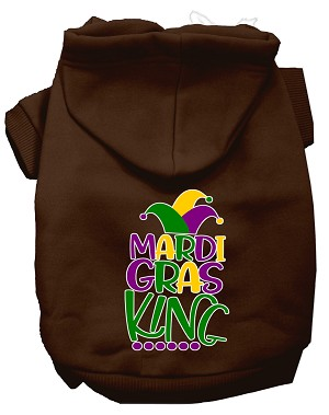Mardi Gras King Screen Print Mardi Gras Dog Hoodie Brown XXL