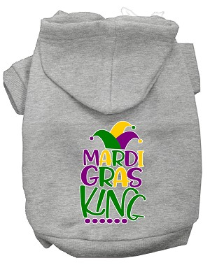 Mardi Gras King Screen Print Mardi Gras Dog Hoodie Grey XXL