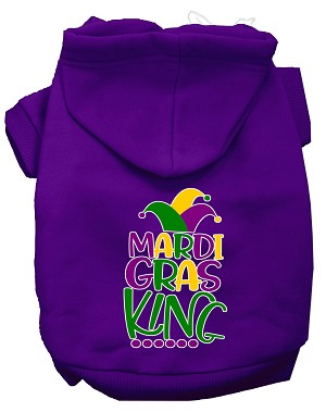 Mardi Gras King Screen Print Mardi Gras Dog Hoodie Purple XXL