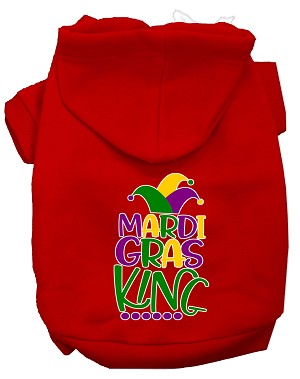 Mardi Gras King Screen Print Mardi Gras Dog Hoodie Red XL