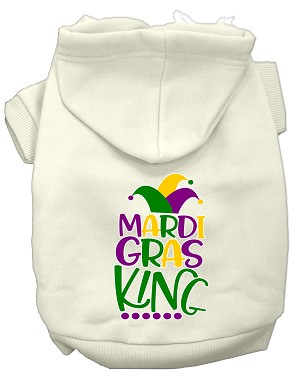 Mardi Gras King Screen Print Mardi Gras Dog Hoodie Cream XS