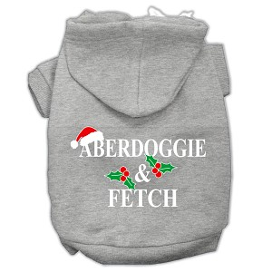 Aberdoggie Christmas Screen Print Pet Hoodies Grey Size M