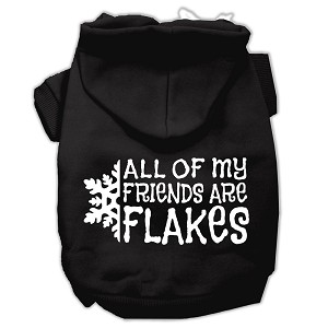 All my friends are Flakes Screen Print Pet Hoodies Black Size M (12)