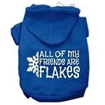 All my Friends are Flakes Screen Print Pet Hoodies Blue Size XS (8)