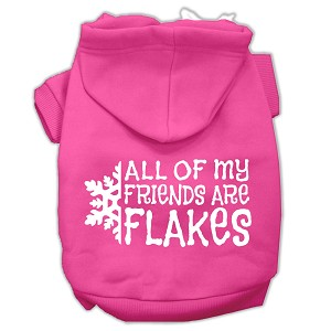 All my friends are Flakes Screen Print Pet Hoodies Bright Pink Size L