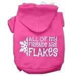 All my friends are Flakes Screen Print Pet Hoodies Bright Pink Size XS (8)