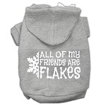 All my friends are Flakes Screen Print Pet Hoodies Grey Size XS (8)