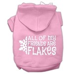 All my friends are Flakes Screen Print Pet Hoodies Light Pink Size XS (8)