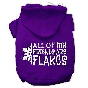 All my friends are Flakes Screen Print Pet Hoodies Purple Size M (12)