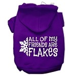 All my friends are Flakes Screen Print Pet Hoodies Purple Size XS (8)