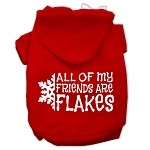 All my friends are Flakes Screen Print Pet Hoodies Red Size XS (8)