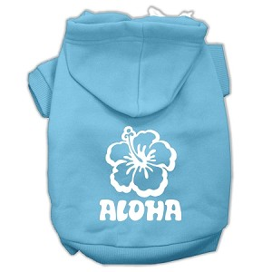 Aloha Flower Screen Print Pet Hoodies Baby Blue Size XXXL (20)