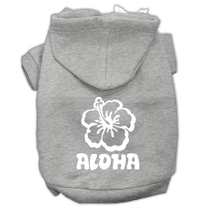 Aloha Flower Screen Print Pet Hoodies Grey Size Lg (14)