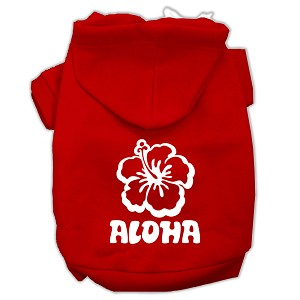 Aloha Flower Screen Print Pet Hoodies Red Size Sm (10)