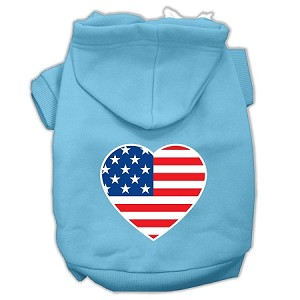 American Flag Heart Screen Print Pet Hoodies Baby Blue Size Med (12)