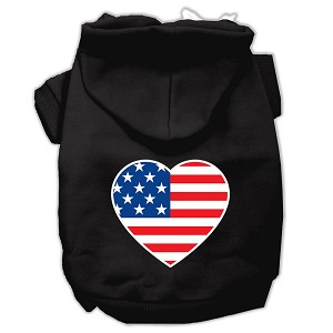 American Flag Heart Screen Print Pet Hoodies Black Size XS (8)