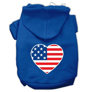 American Flag Heart Screen Print Pet Hoodies Blue Size XL (16)