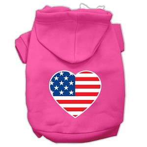 American Flag Heart Screen Print Pet Hoodies Bright Pink Size Sm (10)