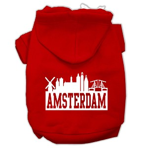 Amsterdam Skyline Screen Print Pet Hoodies Red Size Med (12)