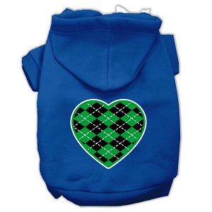 Argyle Heart Green Screen Print Pet Hoodies Blue Size Lg (14)
