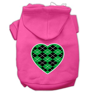Argyle Heart Green Screen Print Pet Hoodies Bright Pink Size Lg (14)