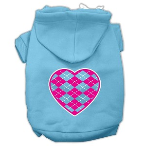Argyle Heart Pink Screen Print Pet Hoodies Baby Blue Size Med (12)