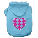 Argyle Heart Pink Screen Print Pet Hoodies Baby Blue Size XS (8)