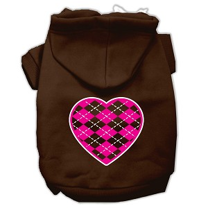 Argyle Heart Pink Screen Print Pet Hoodies Brown Size Med (12)