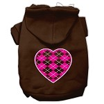 Argyle Heart Pink Screen Print Pet Hoodies Brown Size XS (8)