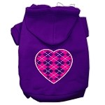 Argyle Heart Pink Screen Print Pet Hoodies Purple Size XS (8)